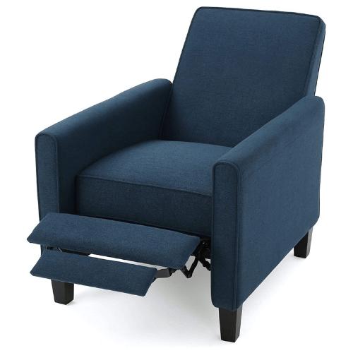 Jeffrey Dark Blue Fabric Recliner Club Chair